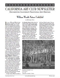 William Wendt Nature Undefiled by Will South, California Art Club Newsletter