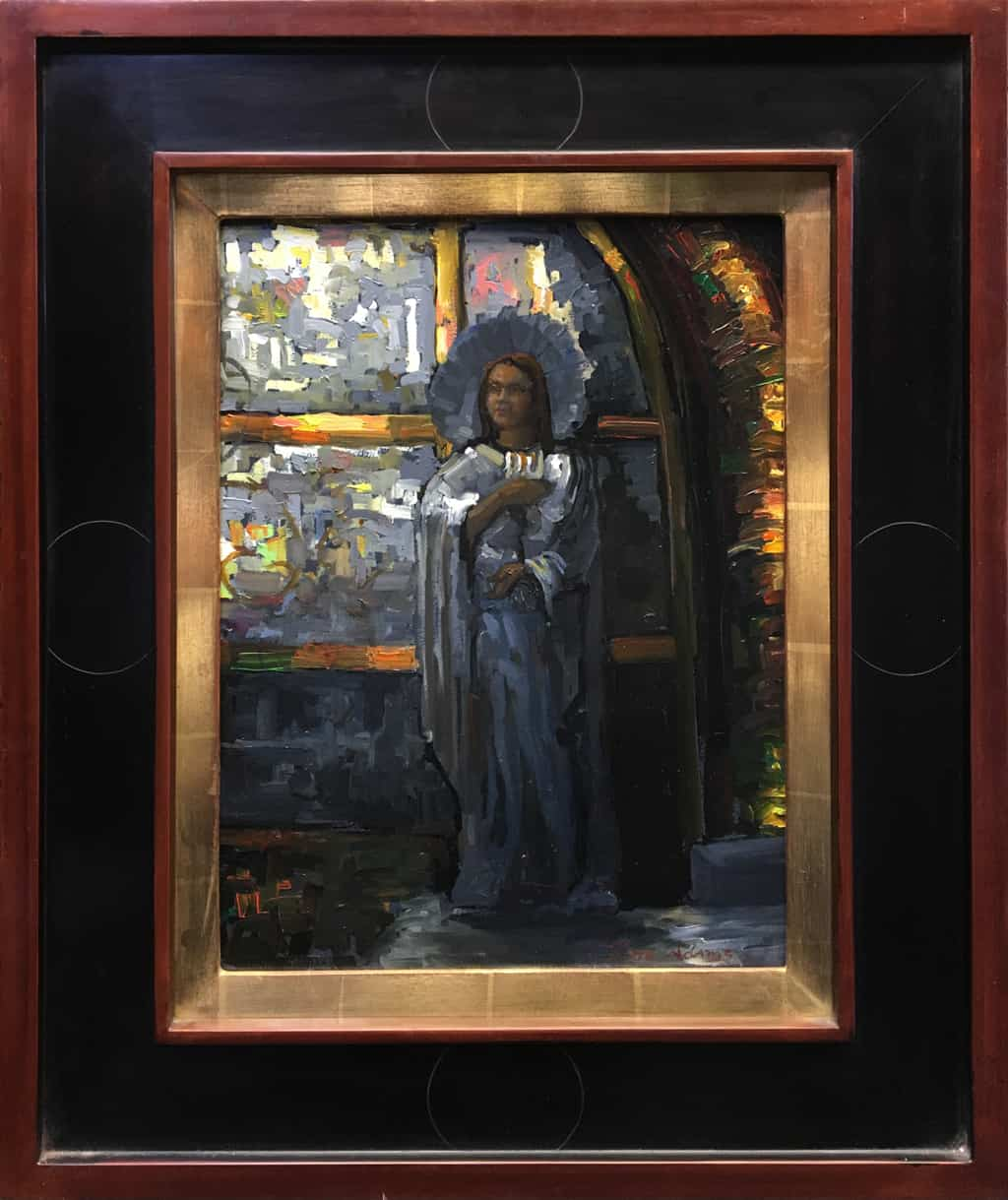 """American Legacy Fine Arts presents """"Mary Magdelene at the Foot of the Cross, Church of the Holy Sepulcher"""" a painting by Peter Adams."""
