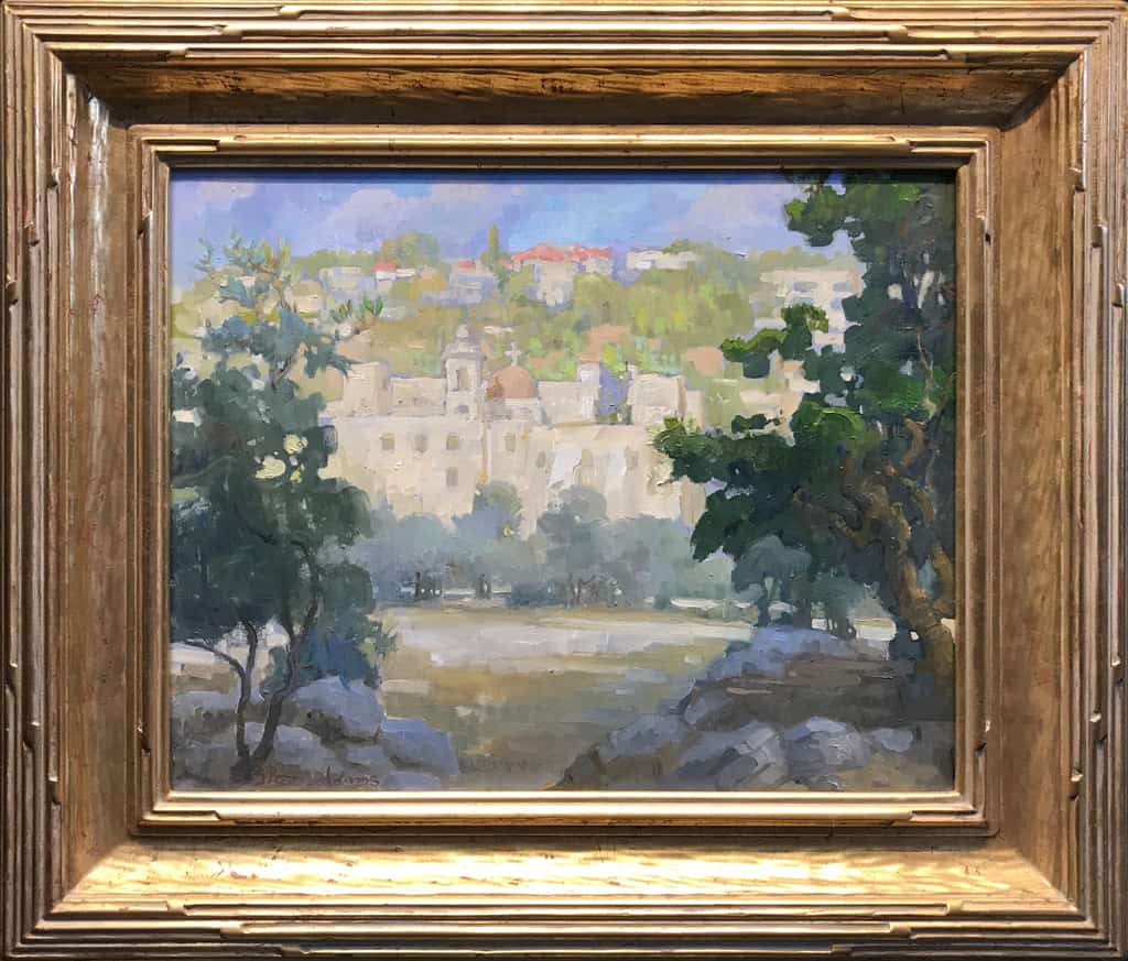 """American Legacy Fine Arts presents """" Monastery of the Holy Cross"""" a painting by Peter Adams."""