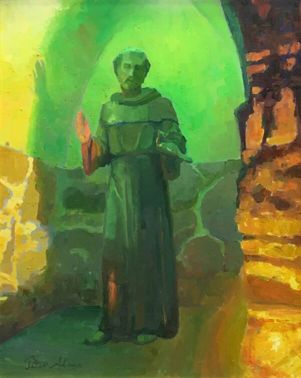 """American Legacy Fine Arts presents """"St. Francis at Mission San Juan Capistrano"""" a painting by peter Adams."""