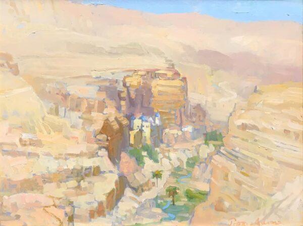 "American Legacy Fine Arts presents ""St. George's Greek Orthodox Monastery"" a painting by Peter Adams."