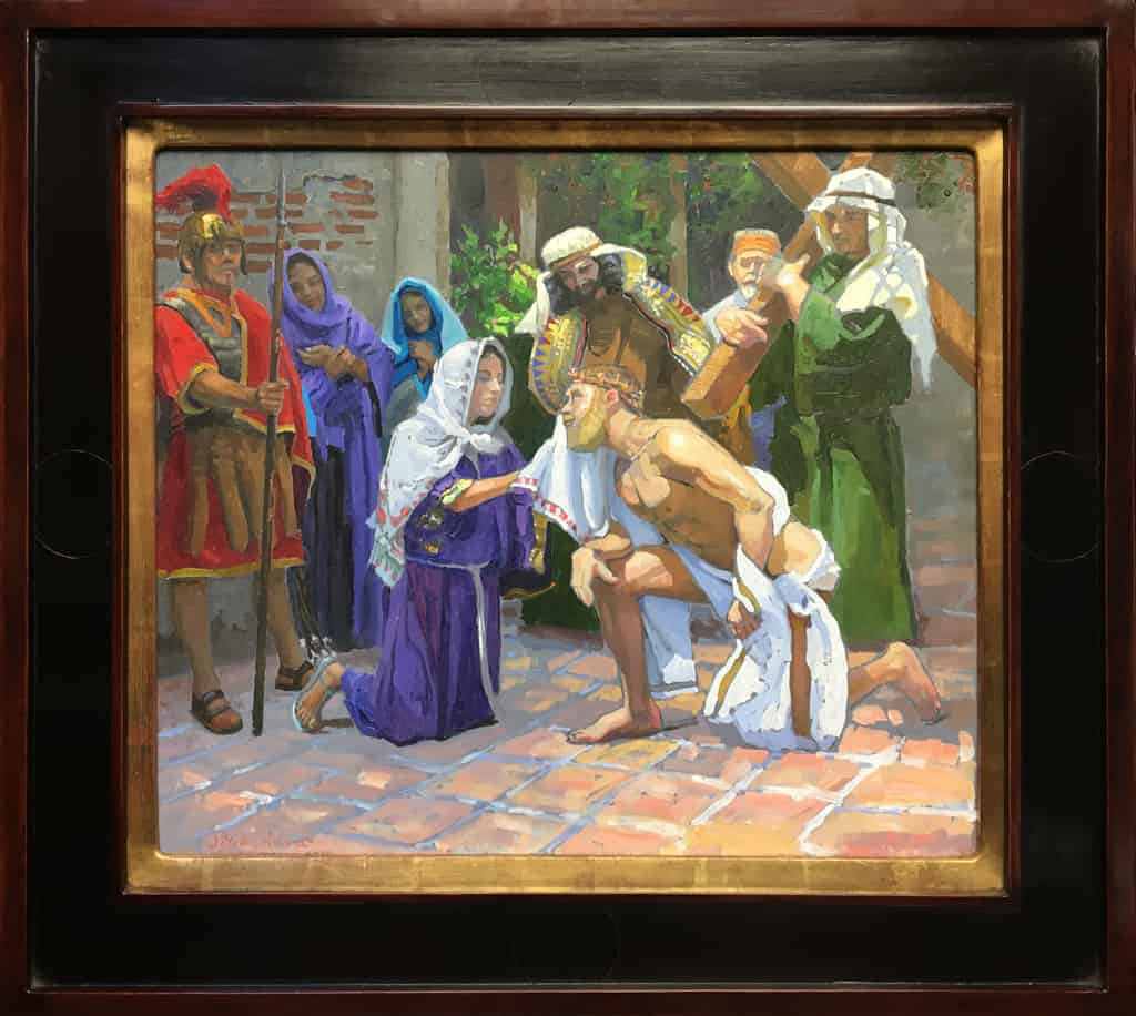 """American Legacy Fine Arts presents """"Study for the 6th Station; Veronica"""" a painting by Peter Adams."""