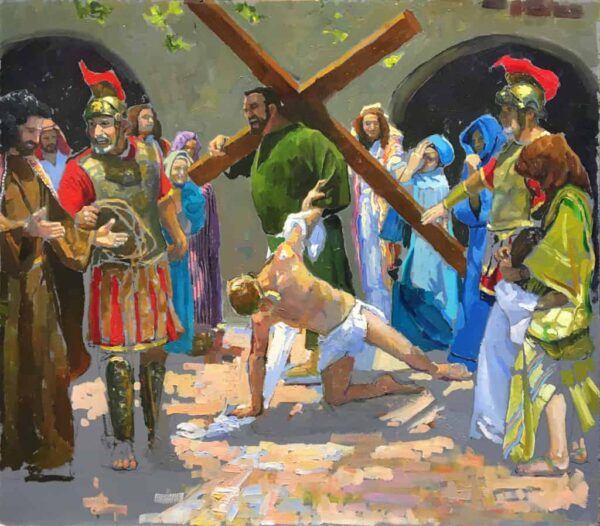 """American Legacy Fine Arts presents """"Study for the 7th Station; Jesus Falls the Second Time"""" a painting by Peter Adams."""