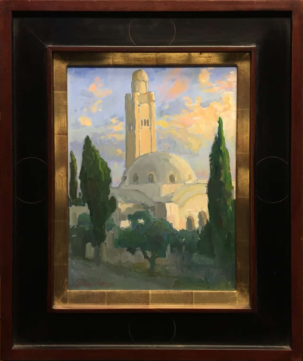 """American Legacy Fine Arts presents """"The Jerusalem International YMCA Tower and Concert Hall"""" a painting by Peter Adams."""