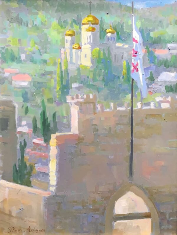"""American Legacy Fine Arts presents """"View of the Church of the Visitation from the Church of St. John the Baptist in Ein Karem"""" a painting by Peter Adams."""