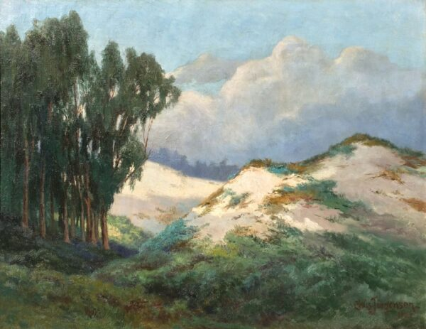 """American Legacy Fine Arts presents """"Sand Dunes and Eucalyptus Trees, 1921"""" a painting by Christian A. Jorgensen."""