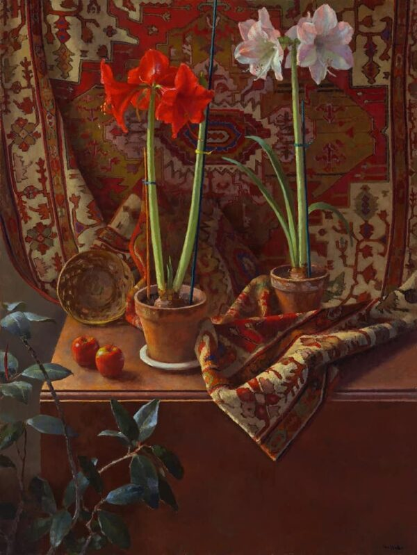 """American Legacy Fine Arts presents """"Two Amaryllis"""" a painting by Jim McVicker."""