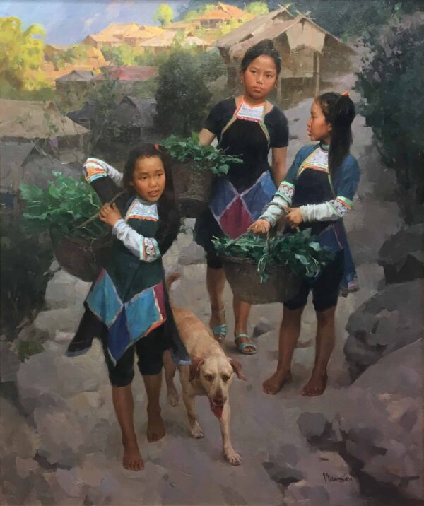 """American Legacy Fine Arts presents """"Family Helping Hands"""" a painting by Mian Situ."""