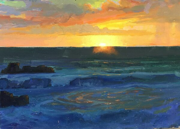 """American Legacy Fine Arts presents """"Last Rays; Laguna Beach"""" a painting by Peter Ada,ms."""