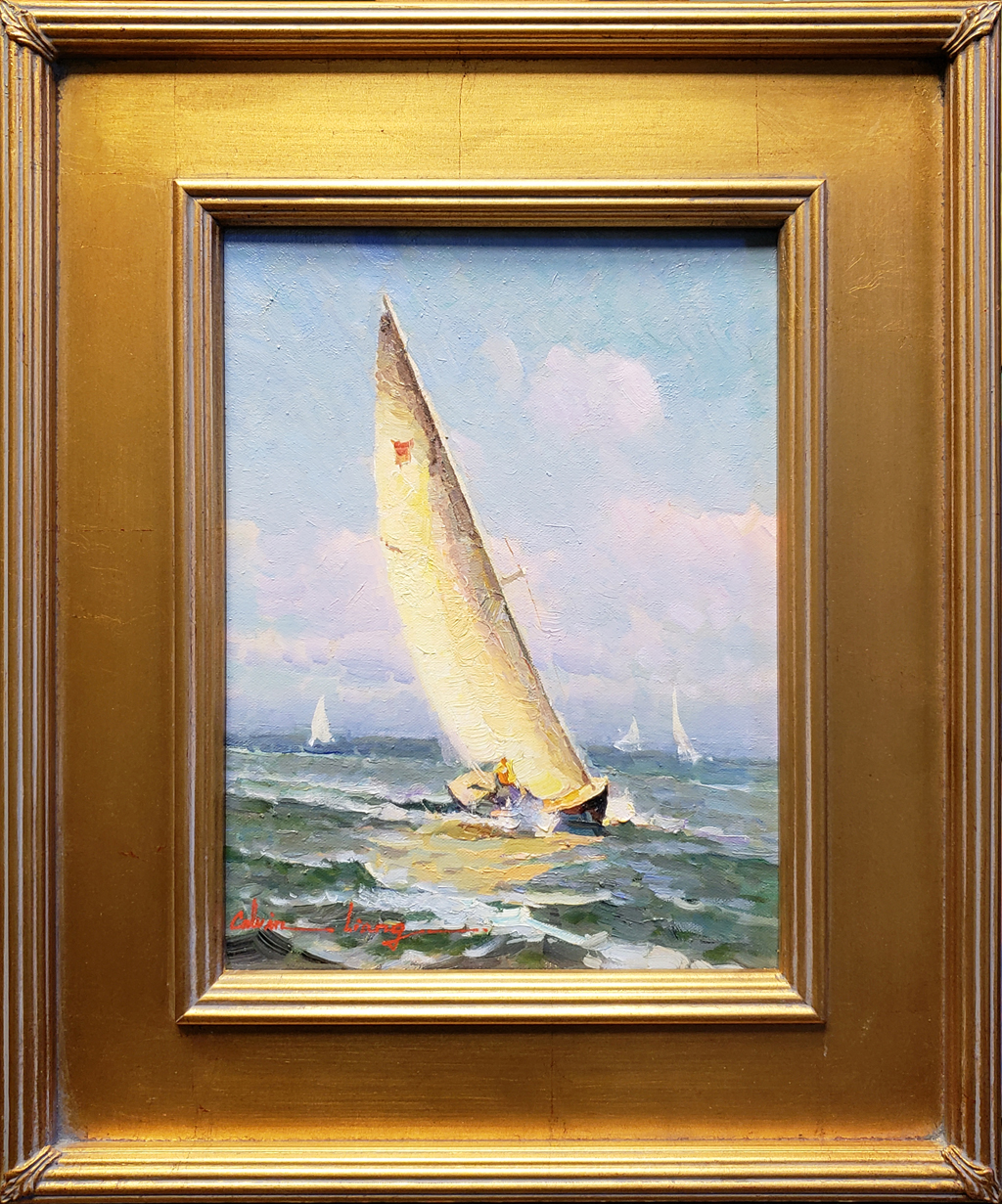 """American Legacy Fine Arts presents """"Sailing Along"""" a painting by Calvin Liang."""