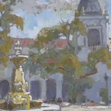 """American Legacy Fine Arts presents """"Fountain and Tower, Pasadena City Hall"""" a painting by Peter Adams."""