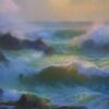 """American Legacy Fine Arts presents """"Con Brio; Sunset at Leo Carrillo Beach"""" a painting by Peter Adams."""