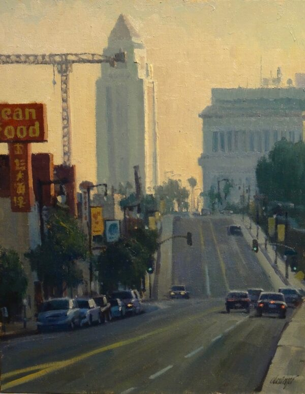 """American Legacy Fine Arts presents """"South on Hill"""" a painting by Michael Obermeyer."""