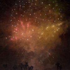 """American Legacy Fine Arts presents """"Aerial Celebration in Red"""" a painting by Jennifer Moses."""