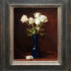"""American Legacy Fine Arts presents """"White on Burgundy"""" a painting by Adrian Gottlieb."""
