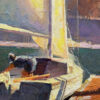 """American Legacy Fine Arts presents """"Sailboats in Dana Point"""" a painting by Calvin Liang."""
