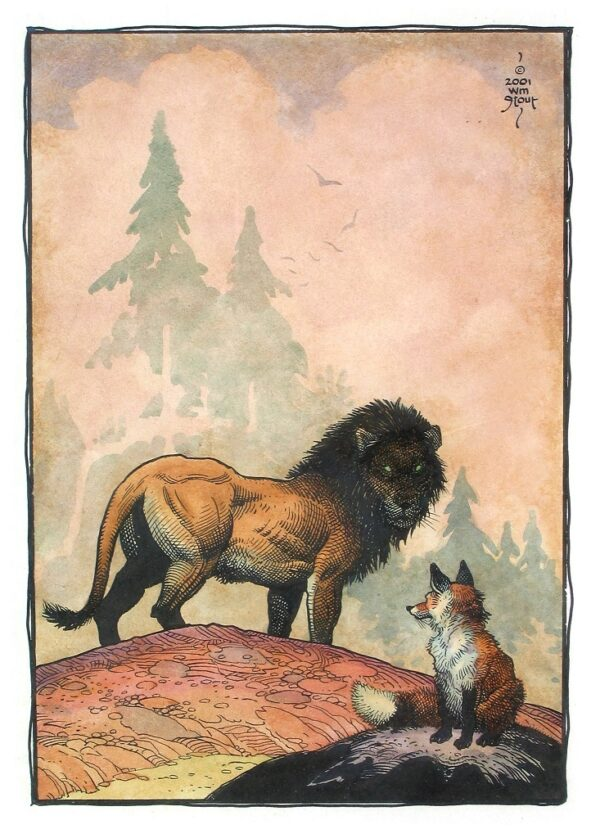 """American Legacy Fine Arts presents """" The Lion and the Fox"""" a painting by William Stout."""