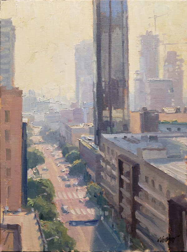 """American Legacy Fine Arts presents """"Down Olive; Los Angeles"""" a painting by Michael Obermeyer."""