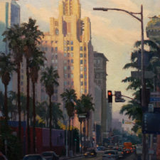 """American Legacy Fine Arts presents """"Pershing Square; Los Angeles"""" a painting by Michael Obermeyer."""
