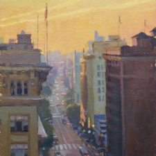 """American Legacy Fine Arts presents """"Seventh Street Sunrise; Los Angeles"""" a painting by Michael Obermeyer."""