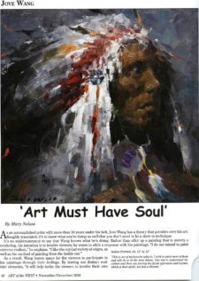 American Legacy Fine Arts presents Jove Wang in Art of the West Magazine, November/December 2018 Issue.