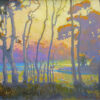 """American Legacy Fine Arts presents """" Autumn Silhouettes at Batiquitos Lagoon, Carlsbad, California"""" a painting by Peter Adams"""