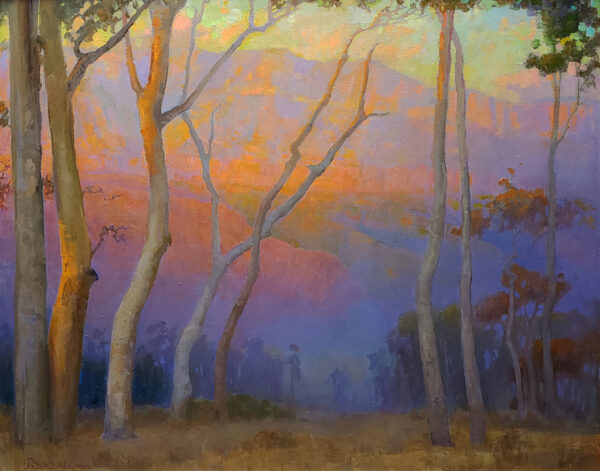 """American Legacy Fine Arts presents """"Eucalyptus Overlooking the San Gabriels at Sunset"""" a painting by Peter Adams"""