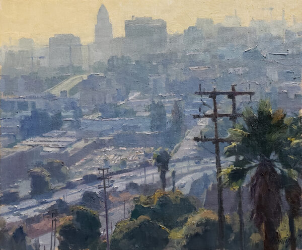 """American Legacy Fine Arts presents """"Top of the Park; Chavez Ravine, Los Angeles"""" a painting by Michael Obermeyer."""