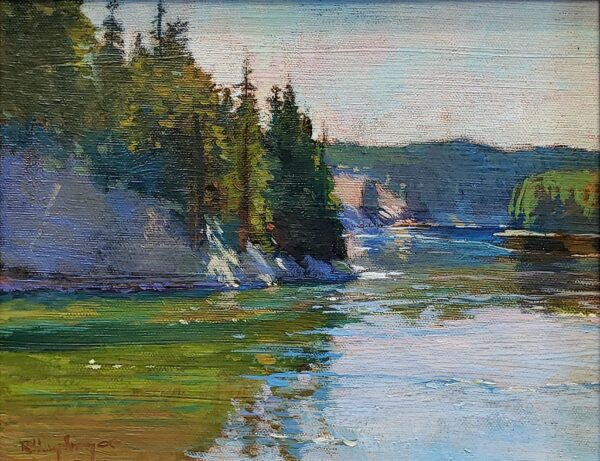 """American Legacy Fine Arts presents """"Bend in the River, Yellowstone"""" a painting by Richard Humphrey."""