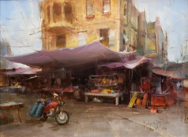 """American Legacy Fine Arts presents """"Market Day' a painting by Bryan Mark Taylor."""