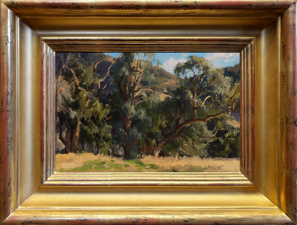 """American Legacy Fine Arts presents """"Eucalyptus in White Light"""" a painting by Joseph Paquet."""