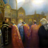 """American Legacy Fine Arts presents """"Forgiveness Sunday, Protection of the Holy Virgin Russian Orthodox Church; Hollywood, California"""" a painting by Peter Adams."""
