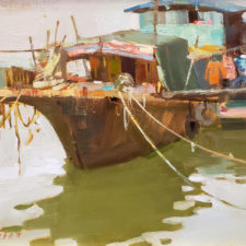 """American Legacy Fine Arts presents """"An Old Boat in Kaiping"""" a painting by Aimee Erickson."""