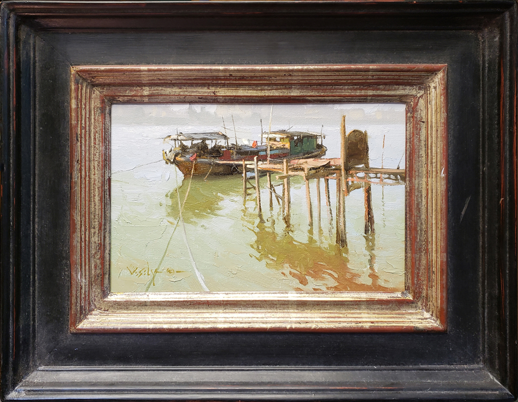 """American Legacy Fine Arts presents """"At the Dock"""" a painting by Albin Veselka."""