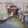 """American Legacy Fine Arts presents """"Houseboats"""" a painting by Calvin Liang."""