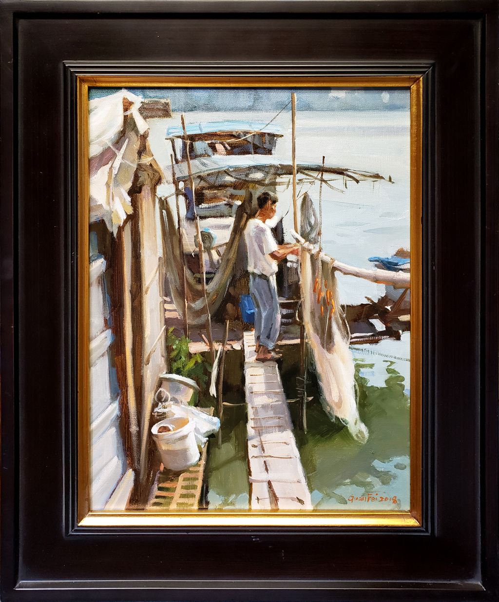 """American Legacy Fine Arts presents """"Sun Dry Nets"""" a painting by Eric F. Guan."""