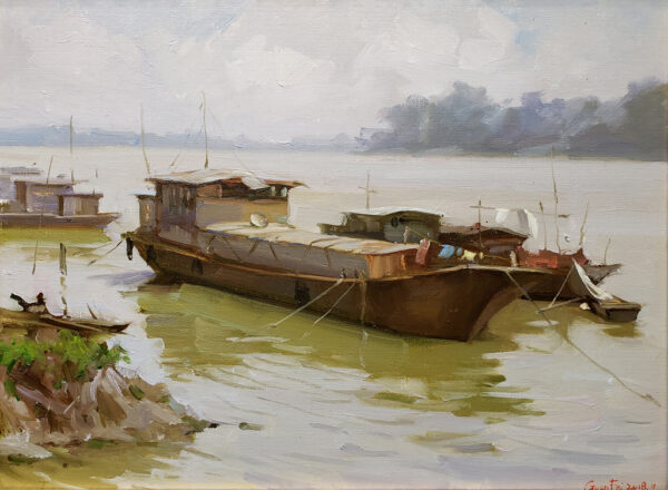 """American Legacy Fine Arts presents """"Tan River Morning"""" a painting by Eric F. Guan."""