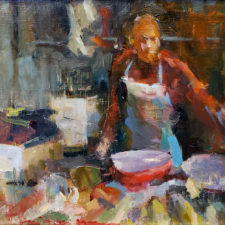 """American Legacy Fine Arts presents """"Fish Market; Sunchong, Guangdong"""" a painting by Hai-Ou Hou."""
