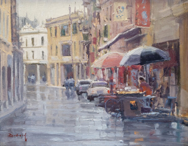 """American Legacy Fine Arts presents """"A Sudden Shower; Kaiping, China"""" a painting by John Budicin."""
