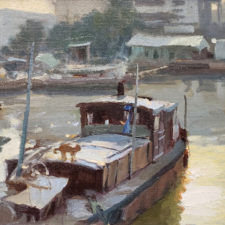 """American Legacy Fine Arts presents """"Liveaboards"""" a painting by John Cosby."""
