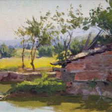 """American Legacy Fine Arts presents """"Village Fish Pond"""" a painting by Joseph Paquet."""