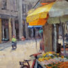 """American Legacy Fine Arts presents """"Corner Market; Chikan, China"""" a painting by Keith Bond."""