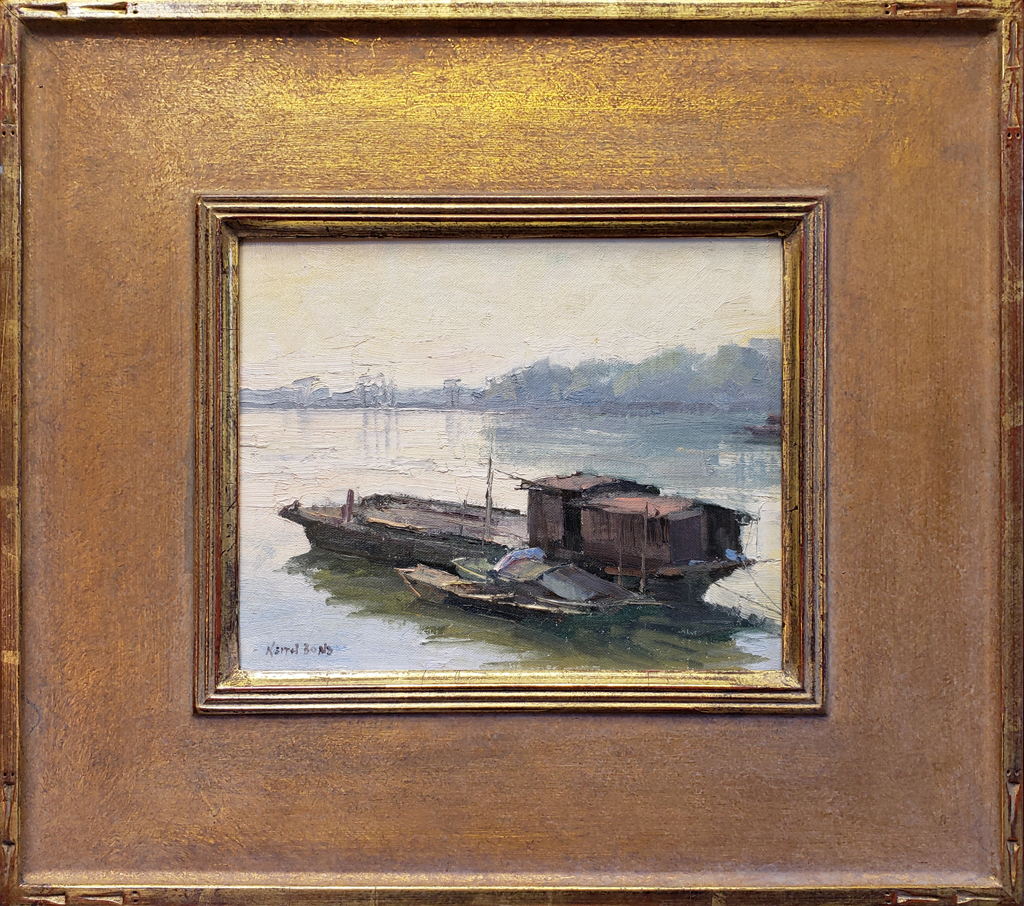 """American Legacy Fine Arts presents """"Fishing Boats; Kaiping, China"""" a painting by Keith Bond."""
