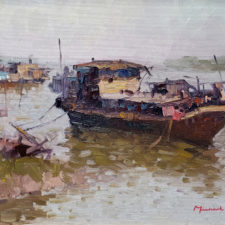"""American Legacy Fine Arts presents """"Kaiping Boat"""" a painting by Michael Situ."""