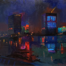 """American Legacy Fine Arts presents """"Kaiping Lights"""" a painting by Peter Adams."""