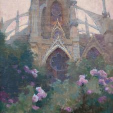 """American Legacy Fine Arts presents """"Rose Garden at Notre Dame Cathedral"""" a painting by Alexey Steele."""