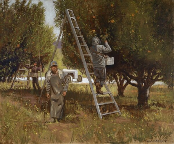 """American Legacy Fine Arts presents """"Orchard in July"""" a painting by Warren Chang."""