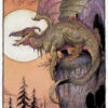 """American Legacy Fine Arts presents """"Sunset Dragon"""" a painting by William Stout."""