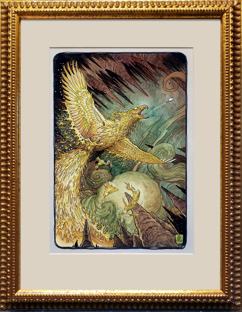 """American Legacy Fine Arts presents """"The Flame Bird"""" a painting by William Stout."""