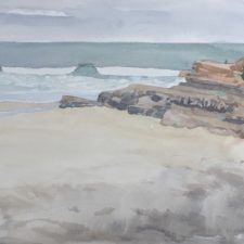 """American Legacy Fine Arts presents """"Becalmed; Dog Beach"""" a painting by Robin Purcell."""